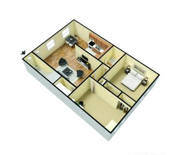 2 bedroom 1 bath 3d furnished 760 sq. ft.
